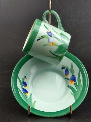Losol ware Keeling & co  Burslem hand painted  Green Coffee can and saucer