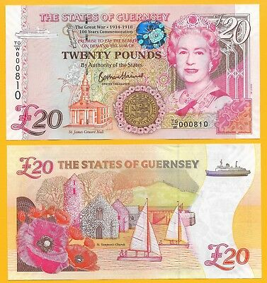 Guernsey 20 Pounds p-new 2018 Commemorative low serial number UNC Banknote
