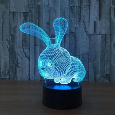 Touch switch Table Lamp Rabbit For Kid's Gifts 3D LED 7-Color Night Light