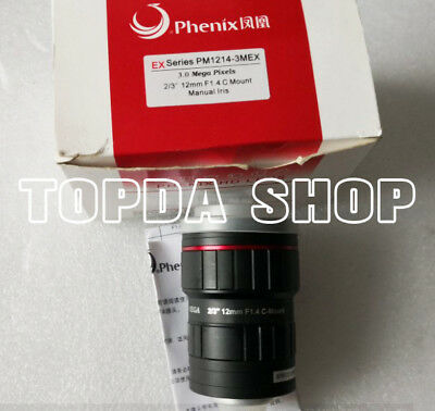 PM1214-3MEX 2/3 12mm 3Megapixel F1.4 HD manual iris industrial Camera lens#SS