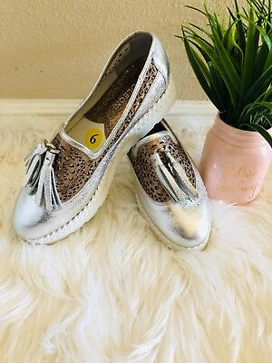 651cf79a3377 NEW NAPOLEONI shoes Woven Metallic Rose Gold Leather Platform Loafers Size 9