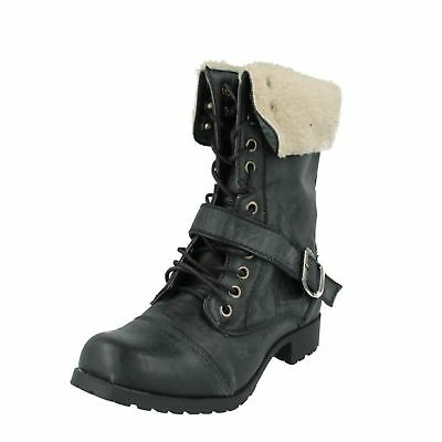 H4R064 Spot On Girls Faux Fur Trim Lace Up Casual Low Heel Winter Ankle Boots
