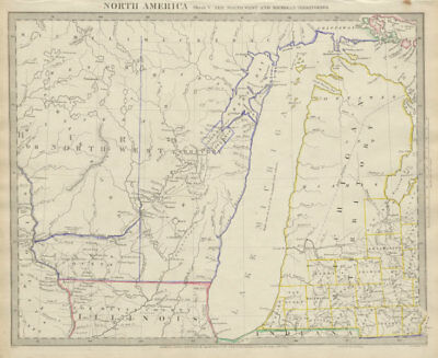 LAKE MICHIGAN Wisconsin / NW Territory. Indian tribes & villages. SDUK 1844 map