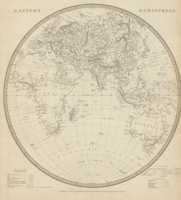 EASTERN HEMISPHERE Europe Africa.Mountains of Kong.Asia Australia SDUK 1844 map