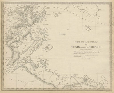 TUNISIA & LIBYA. North Africa or Barbary III Tripoli Gulf of Gabes SDUK 1844 map