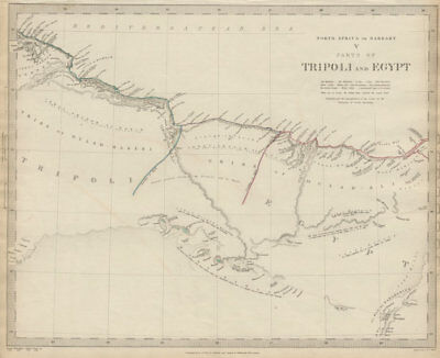 NORTH AFRICA or BARBARY. Parts of Tripoli (Libya) & Egypt. Tribes. SDUK 1844 map
