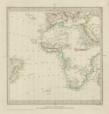 AFRICA.South Europe Brazil.Gnomonic Projection.Mountains of Kong SDUK 1844 map