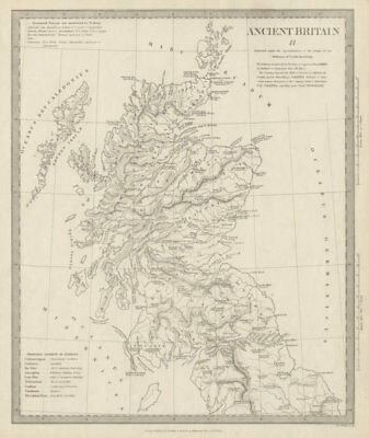 ANCIENT BRITAIN.Caledonia-Scotland.Roman road town names.Ptolemy SDUK 1844 map