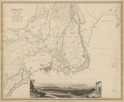 SYRACUSE SIRACUSA antique town city map plan.Remains of its 5 cities SDUK 1844