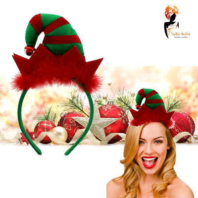 Mini Elf Hat Headband Red Green Bells  Christmas Party Fancy Costume Accessory