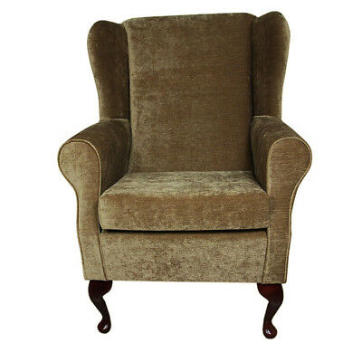 High Wing Back Fireside Chair Velluto Antique Fabric Easy Armchair Queen Anne