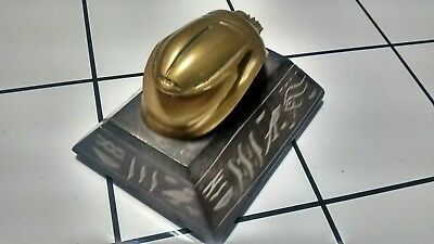 Vintage Egyptian Solid Brass Esculture  Scarab Paperweight with Hieroglyphics.