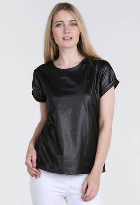 Stunning Pvc Wet Look Faux Leather Over Sized Baggy Roll Sleeve Top Size 8-26