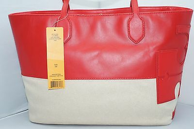 76d82c93fa01 New Tory Burch Stacked T East West Bag Red Tote Hobo Handbag Holiday Gift  Sale