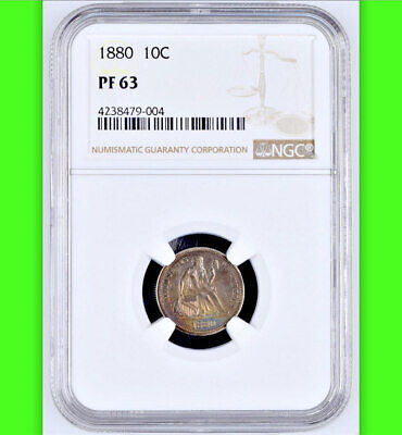 1880 NGC PR63█36,000 Minted + 1,355 Proof (2nd rarest 1880-2018)█Seated Dime 10C