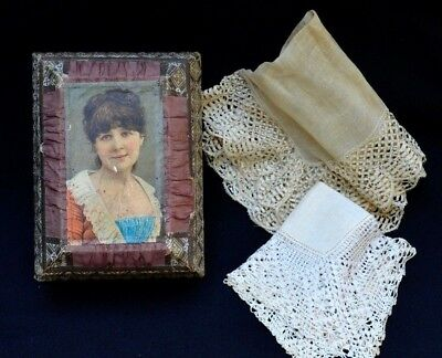 2 Antique Victorian Old Wedding Bride's Hankie Handmade Handkerchief & Box
