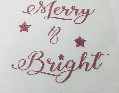 """Christmas Iron On Decal Transfer """"Merry and Bright"""" Glitter Christmas"""