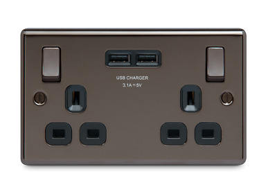 British General Double USB Socket Black Nickel 2.1A Rounded Profile BRAND NEW