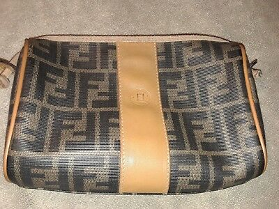 e90d7a8a4bce FENDI Vintage Tan Black ZUCCA Crossbody Purse Shoulder Bag Handbag Circa  1980 s