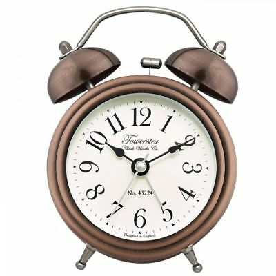 Acctim Pembridge Classic Battery Operated Double Bell Alarm Clock- Antique Brass