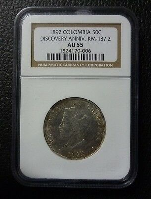 COLOMBIA SILVER COIN 50 Centavos, KM187.2  AU  1892 (Certificated)