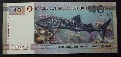 DJIBOUTI BANKNOTE 40 Francs, KMNew UNC 2017 - 40th Anniversary Independence