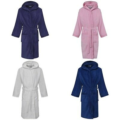 Kids Girls Boys 100% Pure Cotton Velour Terry Towelling Bath Robe Hooded