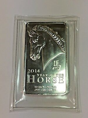 Rare Sealed 2014 Lunar Year of the Horse Fine Silver .999 10oz Bar