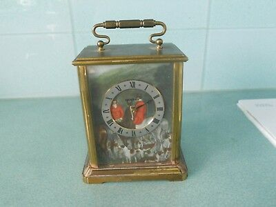 Vintage Acctim Heavy Brass French Carriage Clock Horses & Hounds Hunting Scene