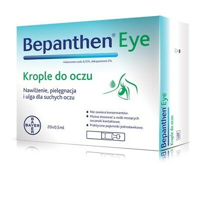 BEPANTHEN EYE Drops 10 x 0,5 ml or 20 x 0,5 ml Dry Eyes Moisturizes & Protects