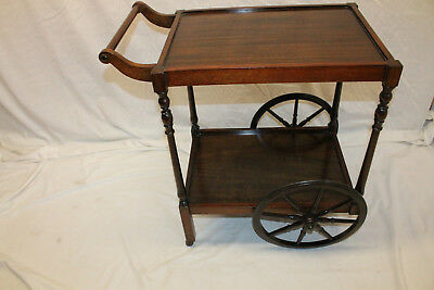 Charming English Mahogany Serving Table Tea Cart, c. 1920