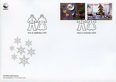 Norway 2018 FDC Christmas Decorations Santa Trees 2v S/A Set Cover Stamps