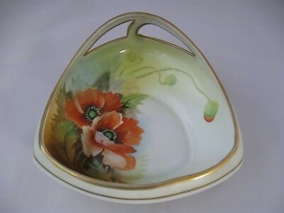 Antique Nippon Porcelain Dish, Hand Painted Orange Poppies Gold Trim