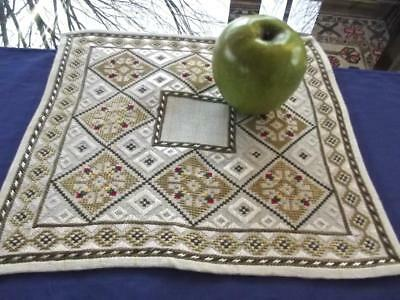 """Antique Edwardian Hand Embroidered 11""""Sq Christmas Doily Geometric Silver & Gold"""