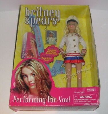 2001 Play Along Britney Spears Performing For You Doll Captain New Damaged Box