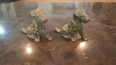 Atq Cast Iron Figural Bookends Terrier Dog  Littco Products Littlestown