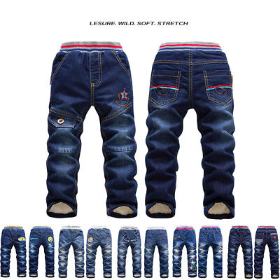 Boys Girls Baby Winter Denim Jeans Kids Pants Warm Fleece Thick Trousers Casual