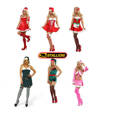 Ladies Mrs Santa Claus Elf Outfit Xmas Sexy Costume Adults Christmas Fancy Dress