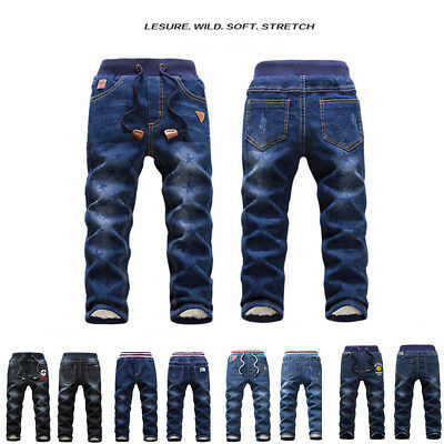 Boys Girls Denim Kids Jeans Winter Pants Warm Fleece Thick Trousers Casual 4-9Y