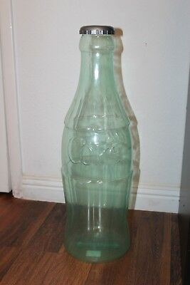 Large Coke Bottle Bank Green Tint (Piggy Bank) - Plastic - Coca Cola memorabilia
