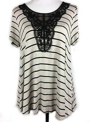 MAURICES Top L Large Beige Cream Black Striped Lace Scoop Neck Swing Tunic Shirt