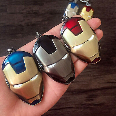 Iron Man Metal Mask Keychain Key Chain Ring Keyring Avengers Super Hero Pendant