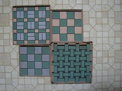 4 Vintage Olean Tile Co Art Deco Square Samples Green Buff/Cream Blue/Gray