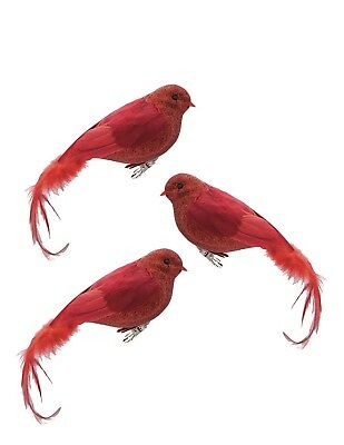 Victorian Trading Co 3 Red Bird Cardinal Glitter & Feather Ornaments