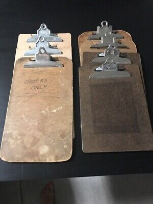 Vintage Lot of SEVEN Mixed Brand Wooden Clip Boards Memo~Old School