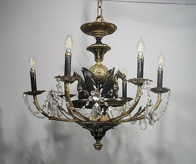 Antique Vintage Chandelier Bronze Grand Ornate Gargoyles Light Fixture Crystals