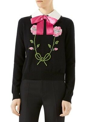 6301fccaf0f5 NWT Gucci $2100 Large US 8 - 10 Embellished Floral Bow Cashmere Cropped  Sweater