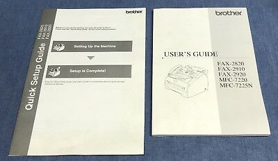 Brother Owner Manual / User's Guide for FAX 2820 2910 2920 7220 7225N