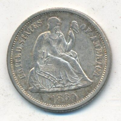 1860 Seated Liberty Silver Dime-Very Lightly Circulated Dime-Ships Free!