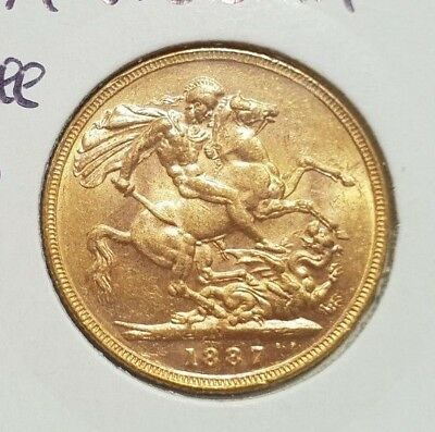 1887M Australian Gold One Sovereign Coin Queen Victoria Jubilee Head